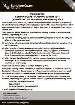PUBLIC NOTICE SUNSHINE COAST PLANNING SCHEME 2014 (ADMINISTRATIVE AND MINOR AMENDMENT) NO. 8 Notice...