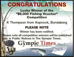 """CONGRATULATIONS Lucky Winner of the """"$5,000 Fishing Voucher"""" Competition K Thompson from K..."""