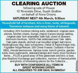 CLEARING AUCTION following sale of House 12 Riverside Drive, South Grafton on behalf of Anne Onions...