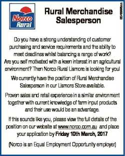 Rural Merchandise Salesperson   Do you have a strong understanding of customer purchasing and...