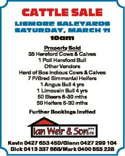 CATTLE SALE LISMORE SALEYARDS SATURDAY, MARCH 11 10am Property Sold 35 Hereford Cows & Calves 1...