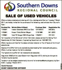 SALE OF USED VEhicLES Offers suitably endorsed and closing with the undersigned at 2pm on Tuesday 7...