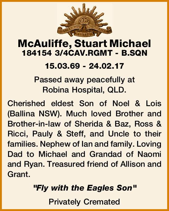 McAuliffe, Stuart Michael    184154 3/4CAV.RGMT - B.SQN    15.03.69 - 24.02.17    Pas...