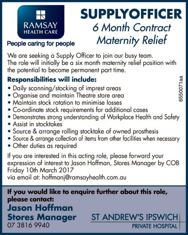 6 Month Contract -Maternity Relief