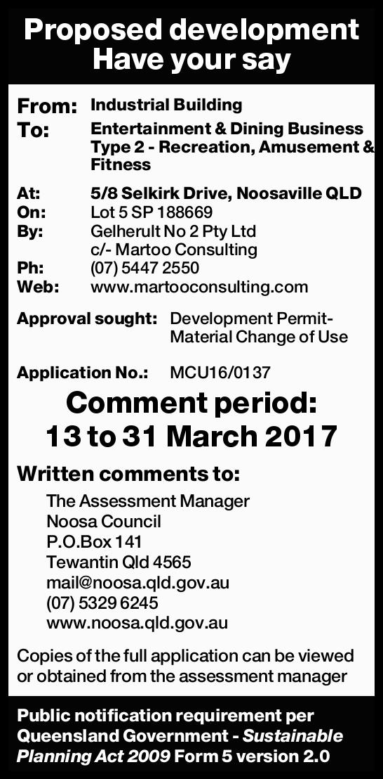 Proposed development Have your say From: Industrial Building To: Entertainment & Dining Busin...