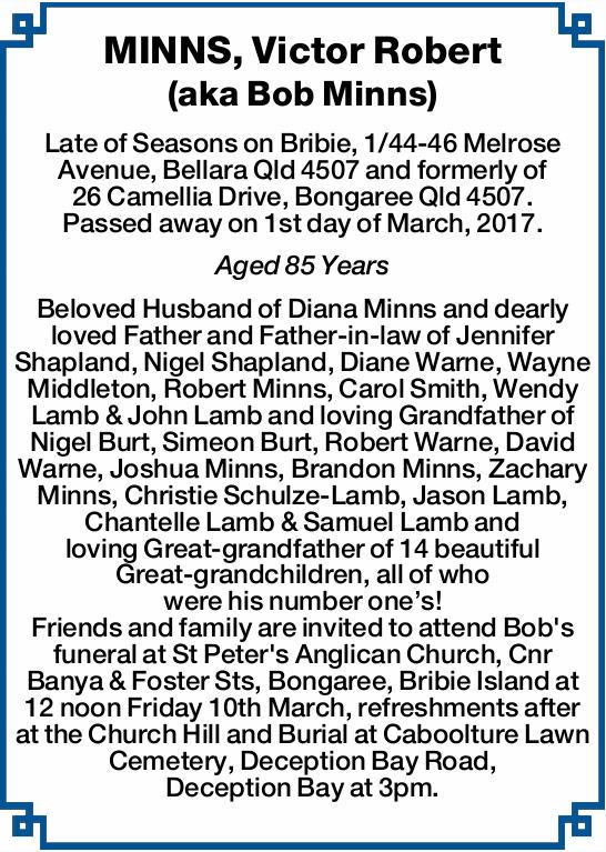 MINNS, Victor Robert (aka Bob Minns) Late of Seasons on Bribie, 1/44-46 Melrose Avenue, Bellara Q...