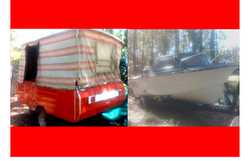 Camper Trailer With Project Boat 175hp o/board (not started in years), $850 each or $1400 for bot...