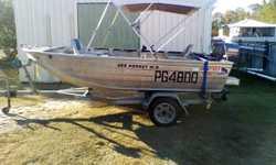 4m Qunitex Hornet WB. 30hp 2 stroke Yamaha. Safety gear, Bimini, fish finder. Boat and trailer both...