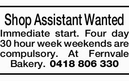 Shop Assistant Wanted