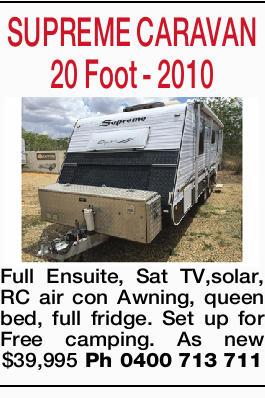 SUPREME CARAVAN   20 Foot - 2010 Full Ensuite, Sat TV,solar, RC air con Awning, queen bed, fu...
