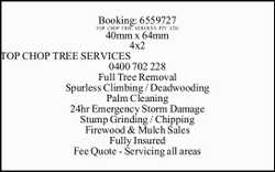 TOP CHOP TREE SERVICES 0400 702 228 Full Tree Removal Spurless Climbing / Deadwooding Palm Cleani...