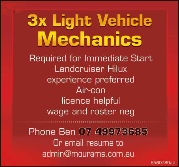 3x Light Vehicle Mechanics     Required for Immediate Start  Landcruiser/Hilux experi...
