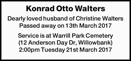 Dearly loved husband of Christine Walters Passed away on 13th March 2017 Service is at Warr...