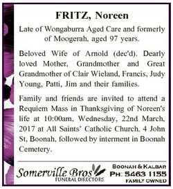 FRITZ, Noreen Late of Wongaburra Aged Care and formerly of Moogerah, aged 97 years. Beloved Wife of...