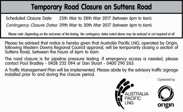 Temporary Road Closure on Suttens Road Scheduled Closure Date: 25th Mar to 28th Mar 2017 (between...