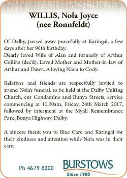 WILLIS, Nola Joyce (nee Ronnfeldt) Of Dalby, passed away peacefully at Karingal, a few days after he...