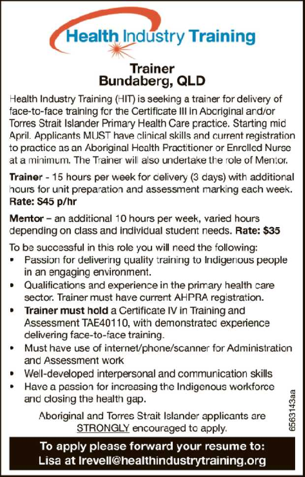 Trainer - Bundaberg, QLD