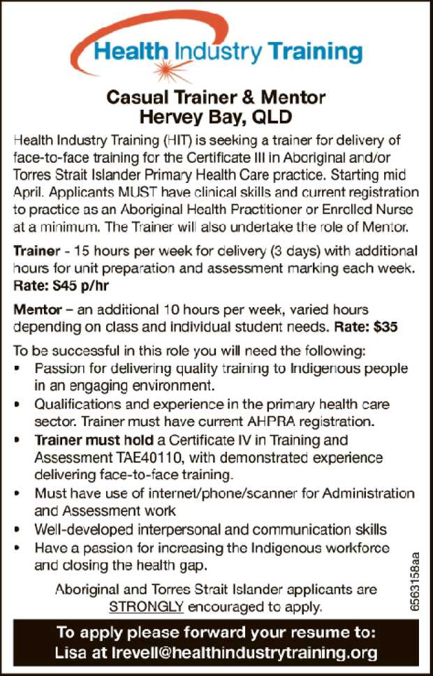 Casual Trainer & Mentor