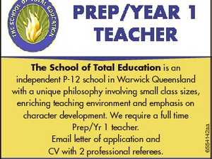 The School of Total Education is an independent P-12 school in Warwick Queensland with a unique philosophy involving small class sizes, enriching teaching environment and emphasis on character development. We require a full time Prep/Yr 1 teacher. Email letter of application and CV with 2 professional referees. Tel 07 ...