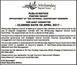 PUBLIC NOTICE POSITION VACANT APPOINTMENT OF TWO EXTERNAL INDEPENDENT MEMBERS FOR AUDIT COMMITTEE -...