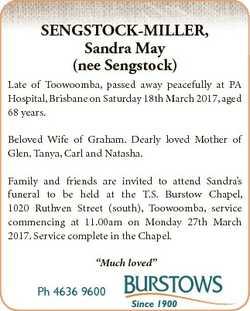 SENGSTOCK-MILLER, Sandra May (nee Sengstock) Late of Toowoomba, passed away peacefully at PA Hospita...