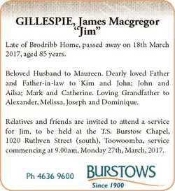 """GILLESPIE, James Macgregor """"Jim"""" Late of Brodribb Home, passed away on 18th March 2017, ag..."""