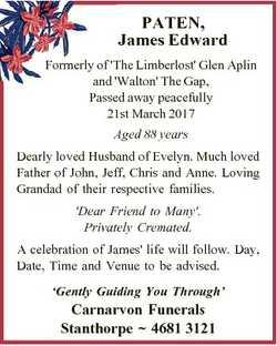 PATEN, James Edward Formerly of 'The Limberlost' Glen Aplin and 'Walton' The Gap, Pa...