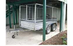 8 x 4 GALV Sealink box trailer, tandem axle, mesh sides, rear gate, fold-down loading ramp, spare...