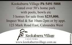 Gated over 50's home park with pools, bowls etc 3 homes for sale from $235,000.