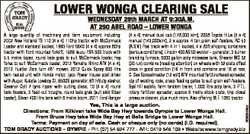 LOWER WONGA CLEARING SALE WEDNESDAY 29th MARCH AT 9:30A.M. AT 290 ABEL ROAD - LOWER WONGA (4 x 4) ma...