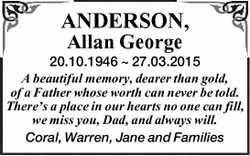 ANDERSON, Allan George 20.10.1946 ~ 27.03.2015 A beautiful memory, dearer than gold, of a Father...