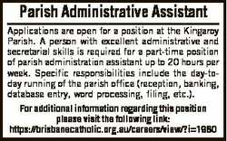 Parish Administrative Assistant Applications are open for a position at the Kingaroy Parish. A perso...