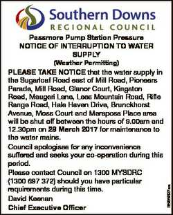 Passmore Pump Station Pressure NOTICE OF INTERRUPTION TO WATER SUPPLY 6565627aa (Weather Permitting)...