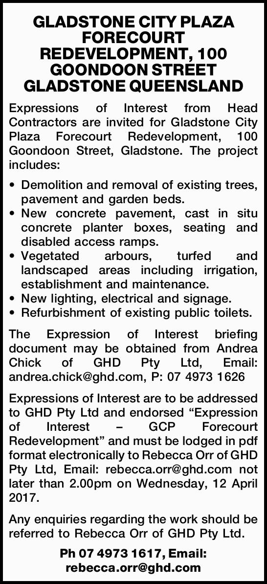 Expressions of Interest from Head Contractors are invited for Gladstone City Plaza Forecour...