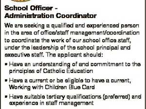 ST THOMAS MORE SUNSHINE BEACH School Officer Administration Coordinator We are seeking a qualified and experienced person in the area of office/staff management/coordination to coordinate the work of our school office staff, under the leadership of the school principal and executive staff. The applicant should: * Have an understanding ...