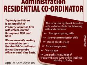 Administration Taylor Byrne Valuers is an established Property Valuation firm with offices located throughout QLD and NSW. We are currently seeking an Administration - Residential Co-ordinator for our Toowoomba office on a full time basis. The successful applicant should be able to demonstrate the following skills and attributes:  Strong computing skills ...