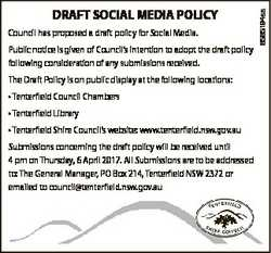 Public notice is given of Council's intention to adopt the draft policy following consideration...