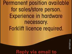 Permanent position available for sales/store person.