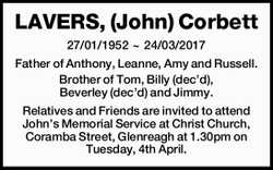 27/01/1952 ~ 24/03/2017   Father of Anthony, Leanne, Amy and Russell. Brother of Tom, Billy (...