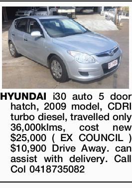 HYUNDAI i30 auto 5 door hatch,   2009 model, CDRI turbo diesel,   travelled only 36,000kl...