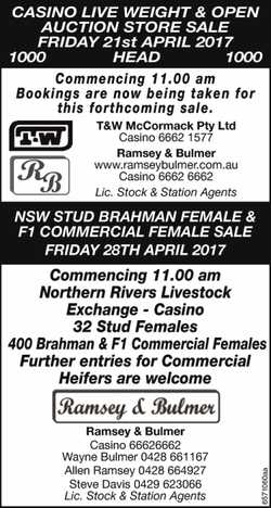 CASINO LIVE WEIGHT & OPEN AUCTION STORE SALE FRIDAY 21st APRIL 2017