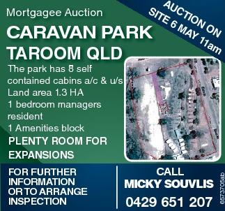 Mortgagee Auction AUCTION ON SITE 6 MAY 11AM CARAVAN PARK TAROOM QLD     The par...