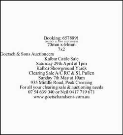 Kalbar Cattle Sale Saturday 29th April at 1pm Kalbar Showground Yards Clearing Sale A/C RC &...