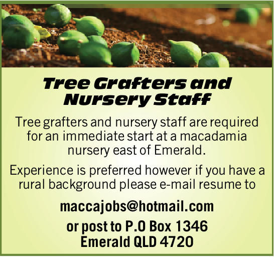 Tree Grafters and Nursery Staff   Tree grafters and nursery staff are required for an immedia...