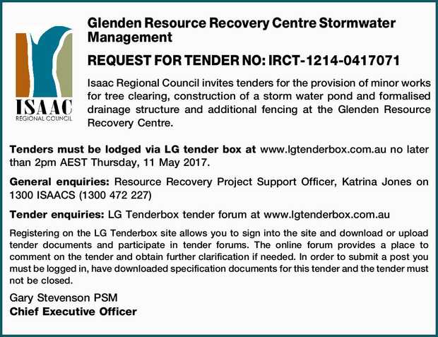 Glenden Resource Recovery Centre Stormwater Management REQUEST FOR TENDER NO: IRCT-1214-0417071 I...