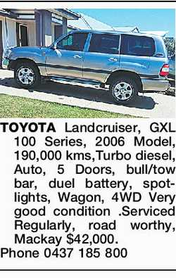 TOYOTA Landcruiser, GXL 100 Series, 2006 Model, 190,000 kms,Turbo diesel, Auto, 5 Doors, bull/tow...