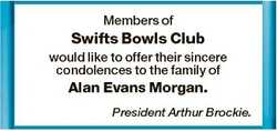 Members of Swifts Bowls Club would like to offer their sincere condolences to the family of Alan Eva...