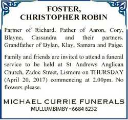 FOSTER, CHRISTOPHER ROBIN Partner of Richard. Father of Aaron, Cory, Blayne, Cassandra and their par...
