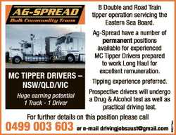 Huge earning potential 1 Truck - 1 Driver For further details on this position please call 0499 003...