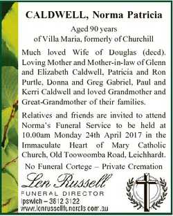 CALDWELL, Norma Patricia Aged 90 years of Villa Maria, formerly of Churchill Much loved Wife of Doug...